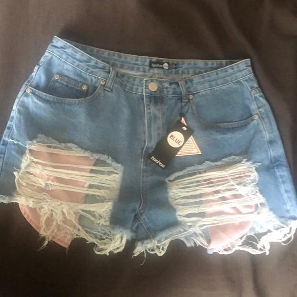 high waisted denim shorts distressed